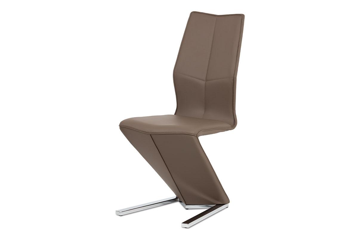 Autronic - Jídelní židle, cappuccino ekokůže, chrom - HC-788 CAP