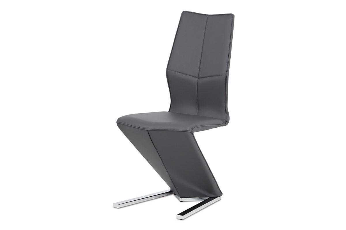 Autronic - Jídelní židle, šedá ekokůže, chrom - HC-788 GREY