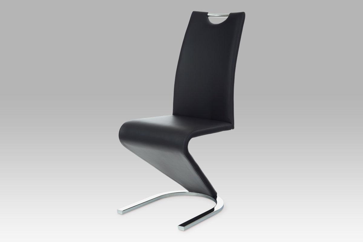 Autronic - Jídelní židle koženka černá / chrom - HC-790 BK