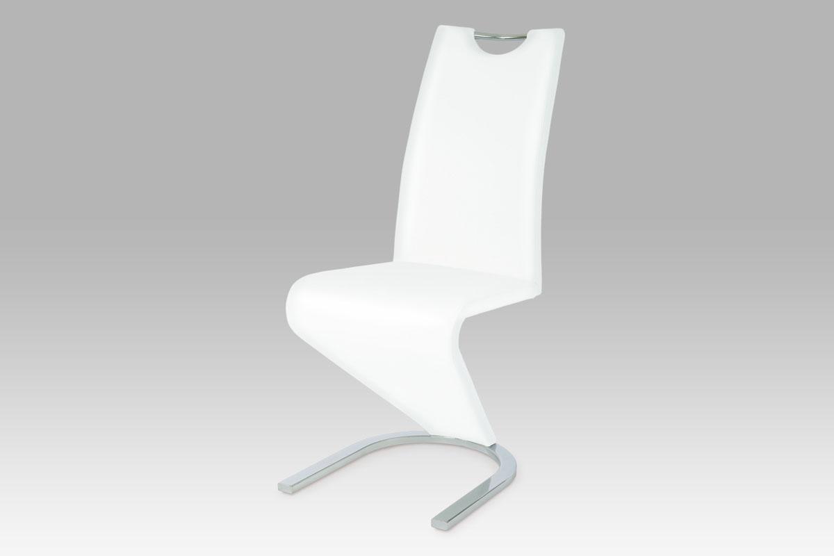 Autronic - Jídelní židle koženka bílá / chrom - HC-790 WT1