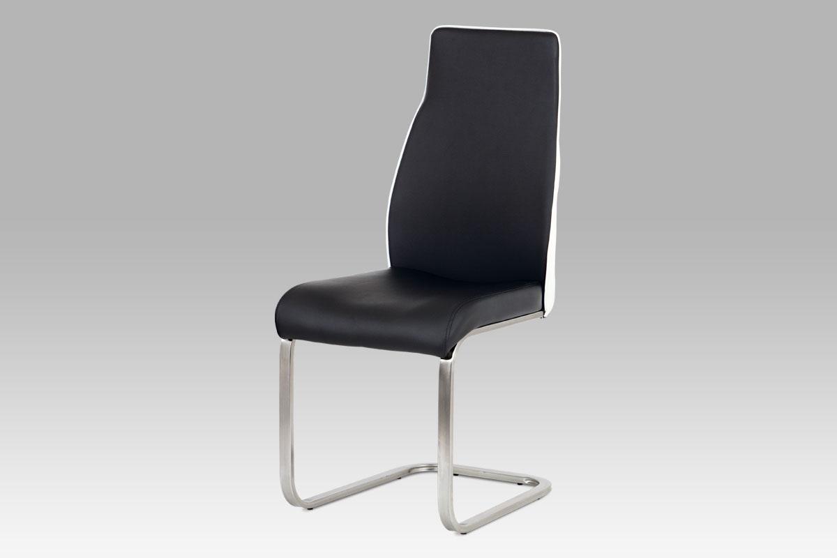 Autronic - Jídelní židle koženka černá + bílá / broušený nerez - HC-911 BK