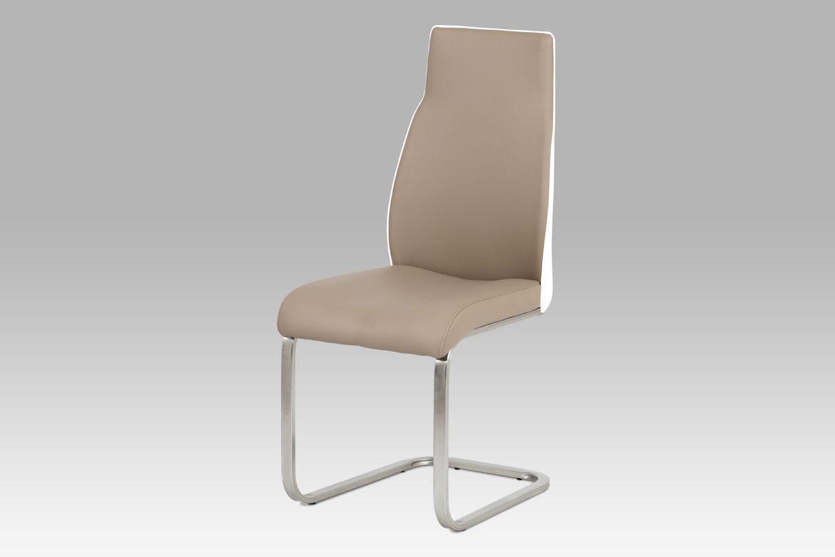 Autronic - Jídelní židle koženka cappuccino + bílá / broušený nerez - HC-911 CAP