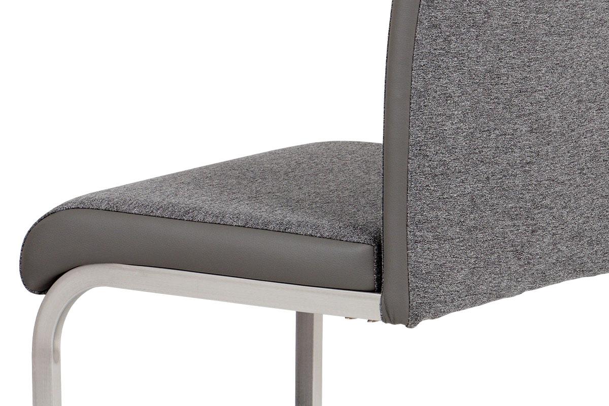 Autronic - Jídelní židle látka šedá + koženka šedá / broušený nerez - HC-921 GREY2