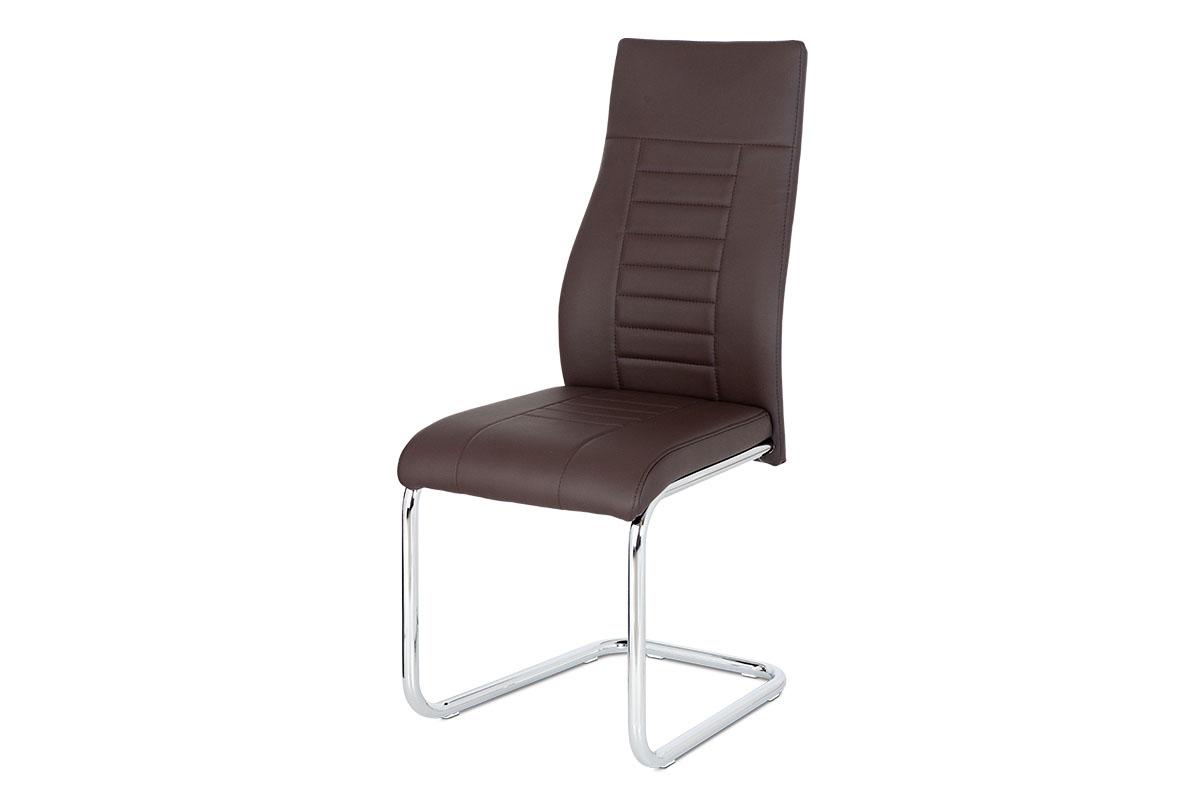Autronic - Jídelní židle, hnědá koženka / chrom - HC-955 BR