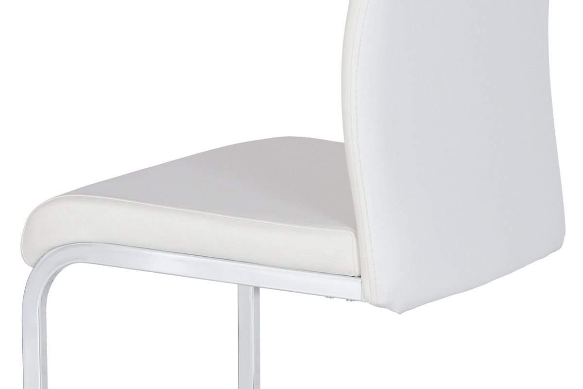 Autronic - Jídelní židle bílá koženka / chrom - HC-981 WT