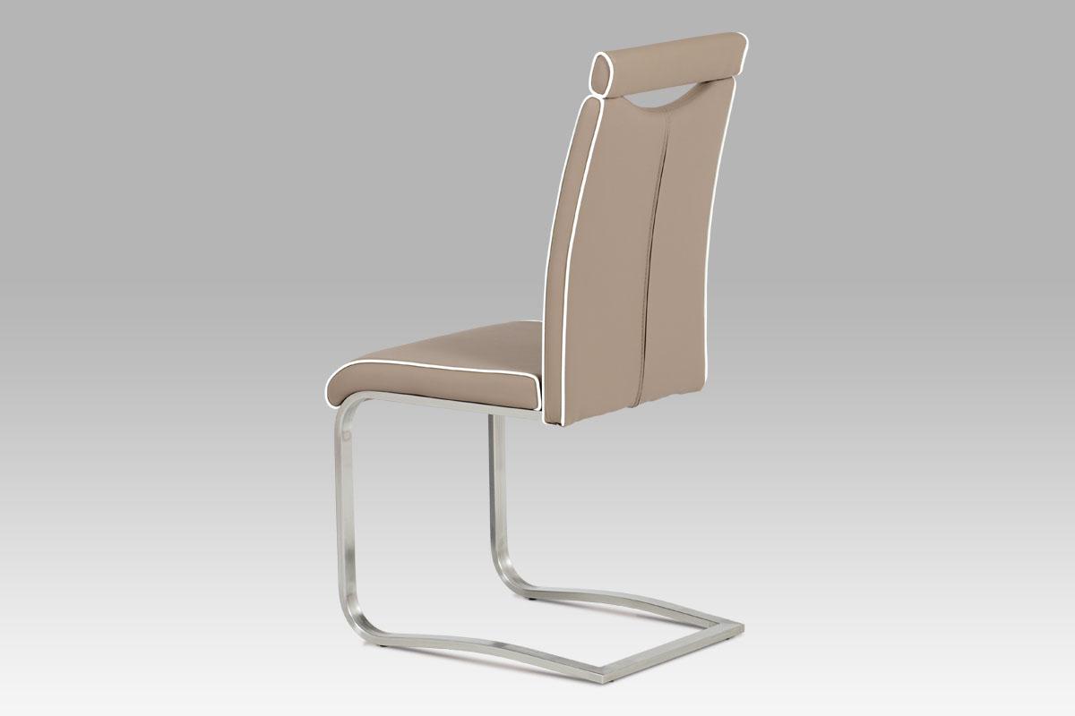 Autronic - Jídelní židle, koženka cappuccino / broušený nerez - HC-998 CAP