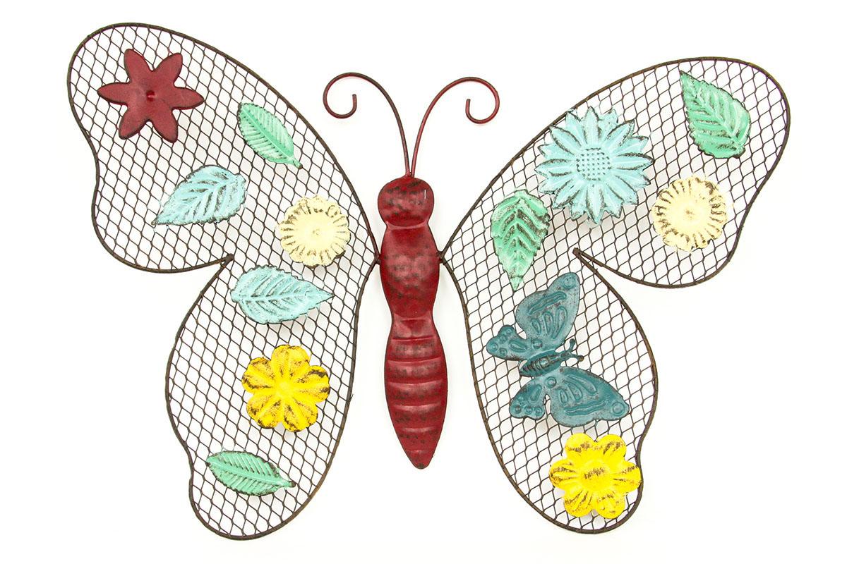 Autronic - Nástěnná kovová dekorace - barevný motýl - HO4358