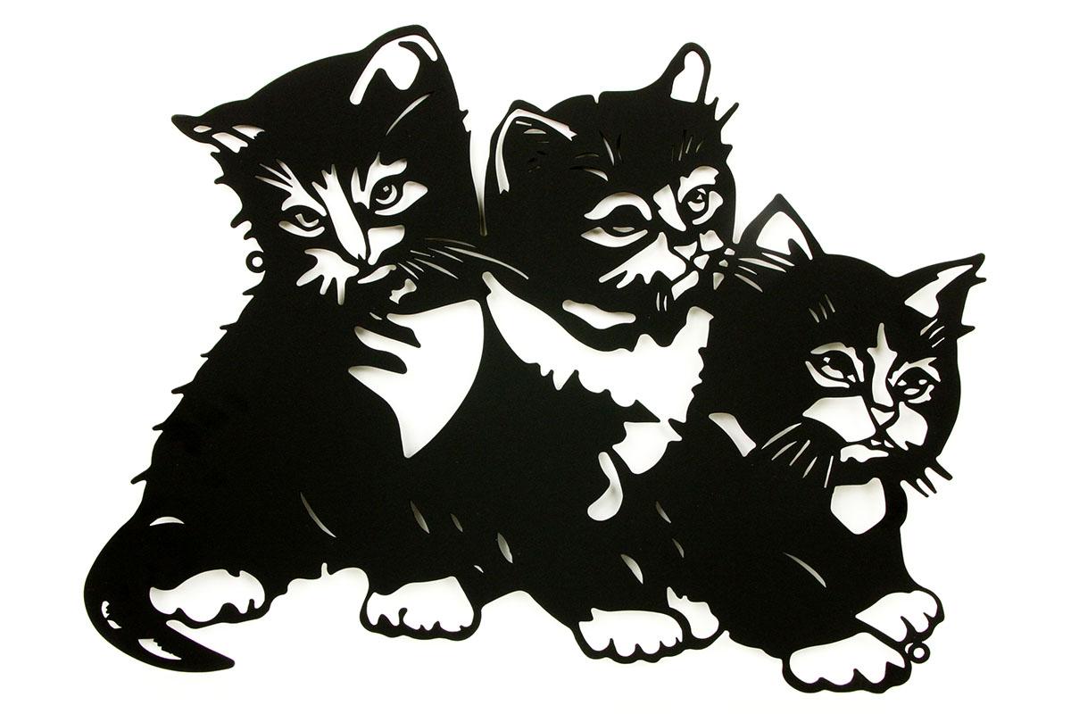 Autronic - Nástěnný kovový obraz - koťátka, barva černá matná - HO4372