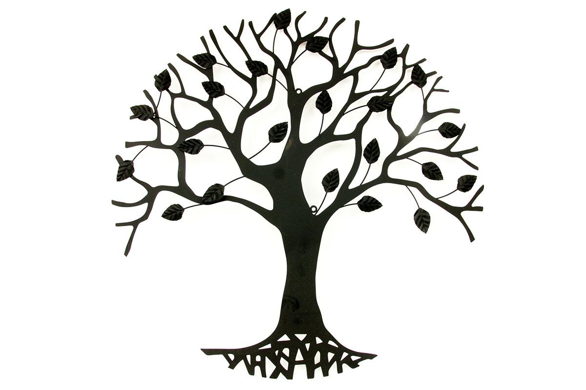 Autronic - Nástěnná kovová dekorace - stromy, barva černá matná - HO4464