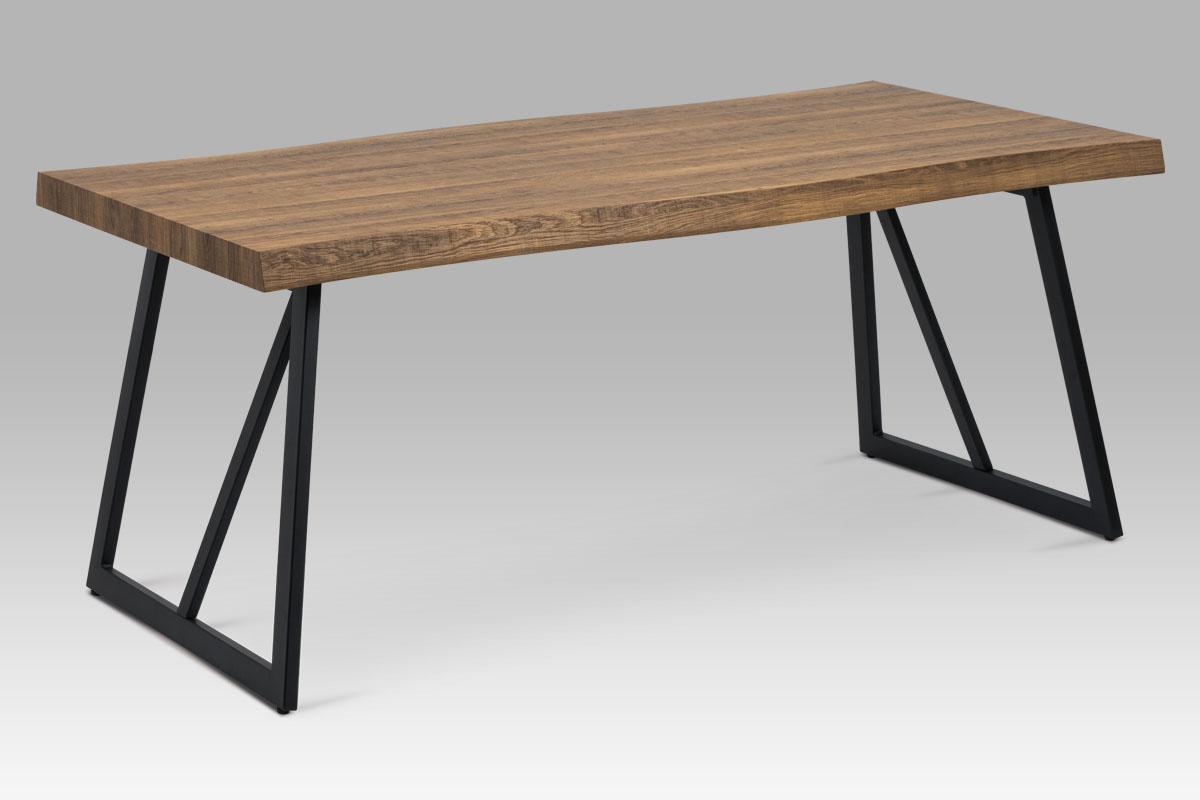 Autronic - Jídelní stůl 180x90 cm, MDF dekor tmavý dub, kov černý mat - HT-220 OAK3