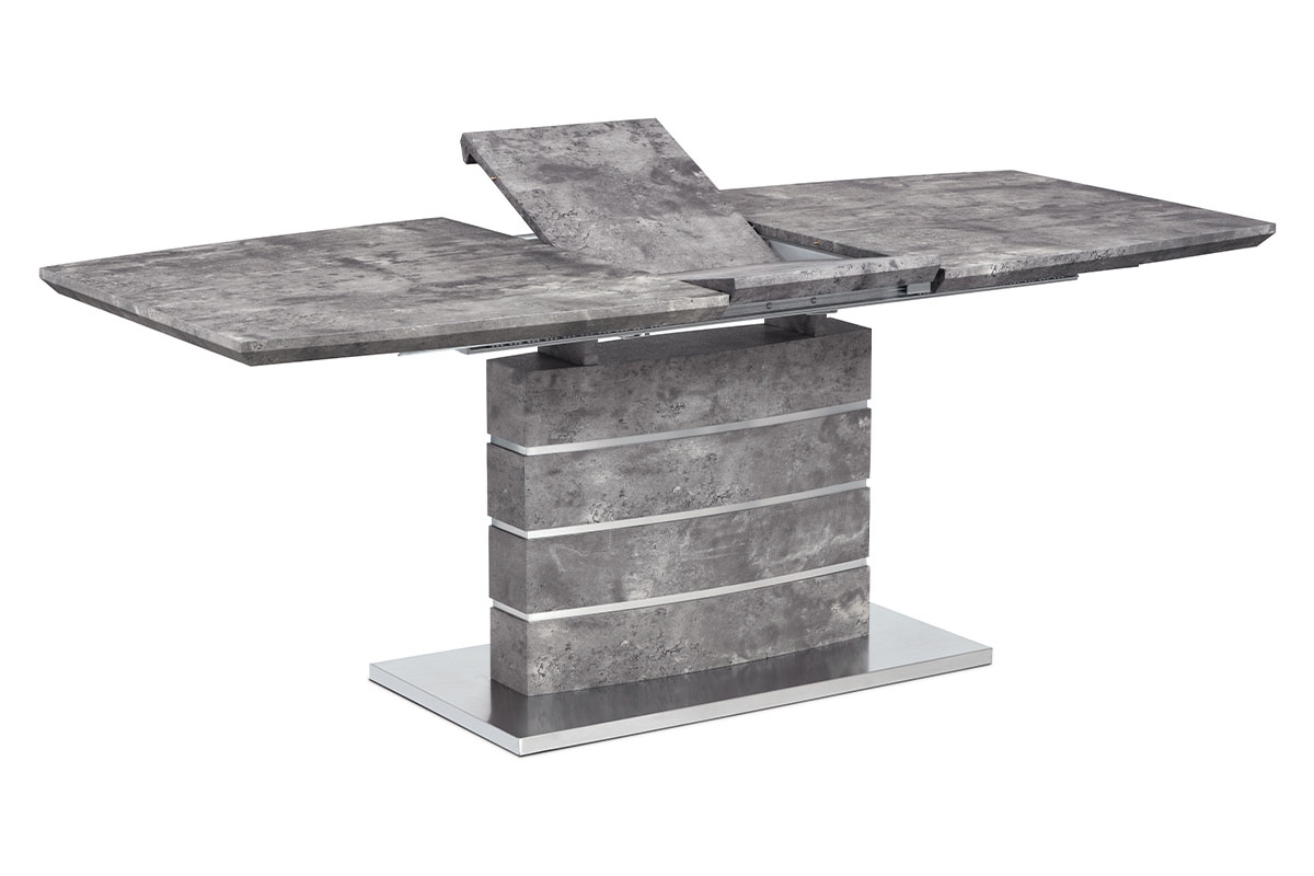 Autronic - Jídelní stůl 160+40x90 cm, MDF beton, broušený nerez - HT-302 BET