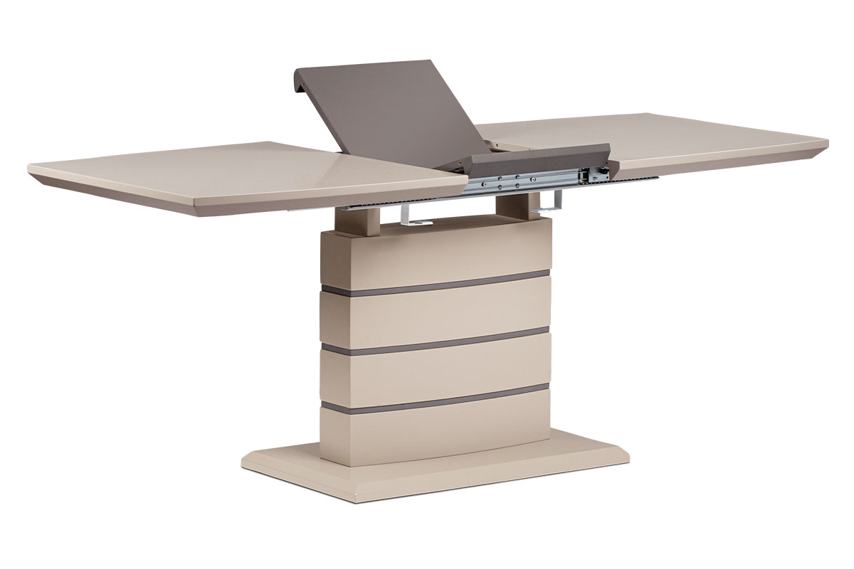 Autronic - Jídelní stůl 140+40x80 cm, cappucino mat + šedohnědá - HT-410 CAP