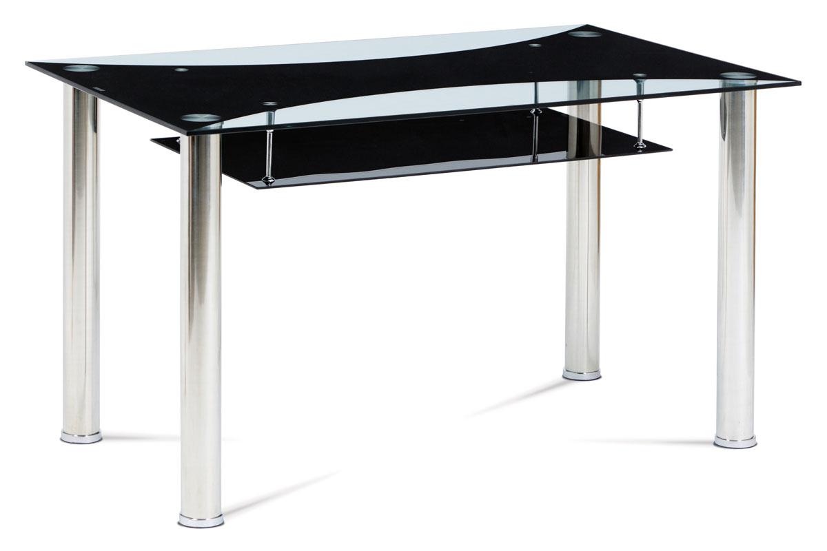 Autronic - Jídelní stůl 130x80x75 cm, sklo / chrom - HT-415 BK