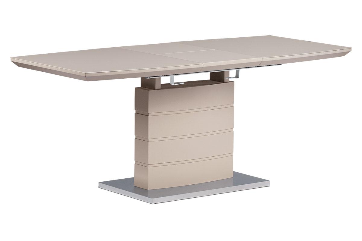Rozkládací jídelní stůl 140+40x80x76 cm, cappuccino sklo, cappuccino matný lak, - HT-440 CAP
