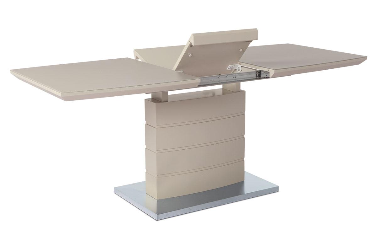 Autronic - Rozkládací jídelní stůl 140+40x80x76 cm, barva cappucino, bílé sklo / broušený nerez - HT-440 CAP