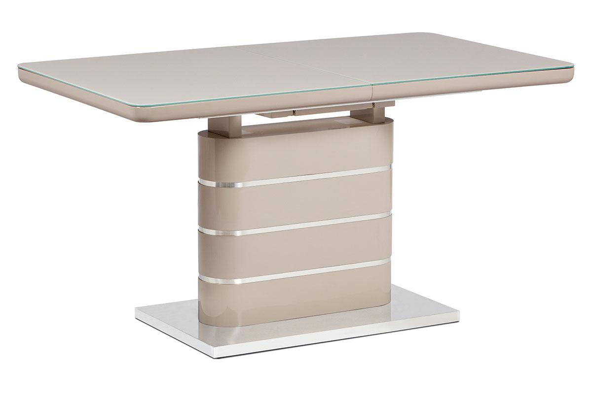 Jídelní stůl 140+40x80 cm, vysoký lesk cappuccino, sklo cappuccino, broušený ner - HT-442 CAP