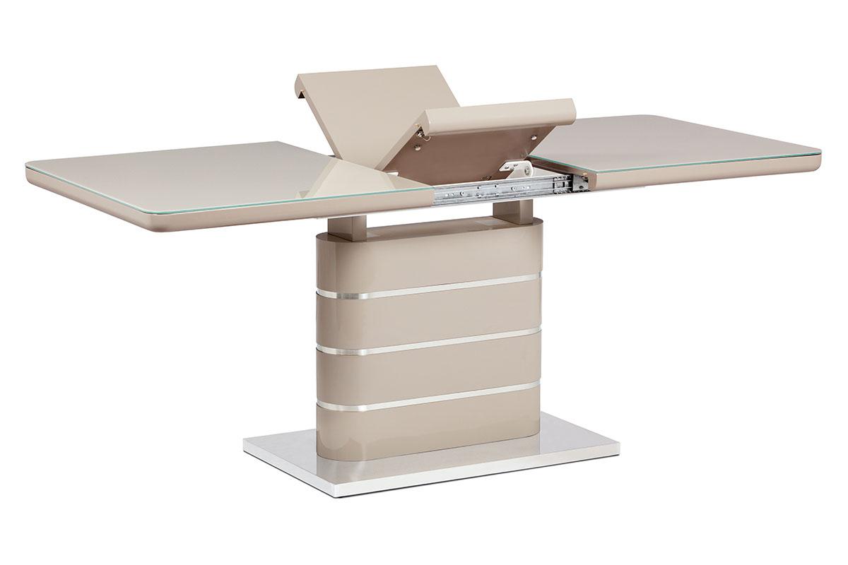 Autronic - Jídelní stůl 140+40x80 cm, vysoký lesk cappuccino, sklo cappuccino, broušený nerez - HT-442 CAP