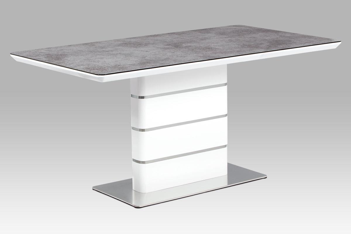 Autronic - Jídelní stůl 160x90, šedé sklo, bílý vysoký lesk MDF, broušený nerez - HT-450 GREY