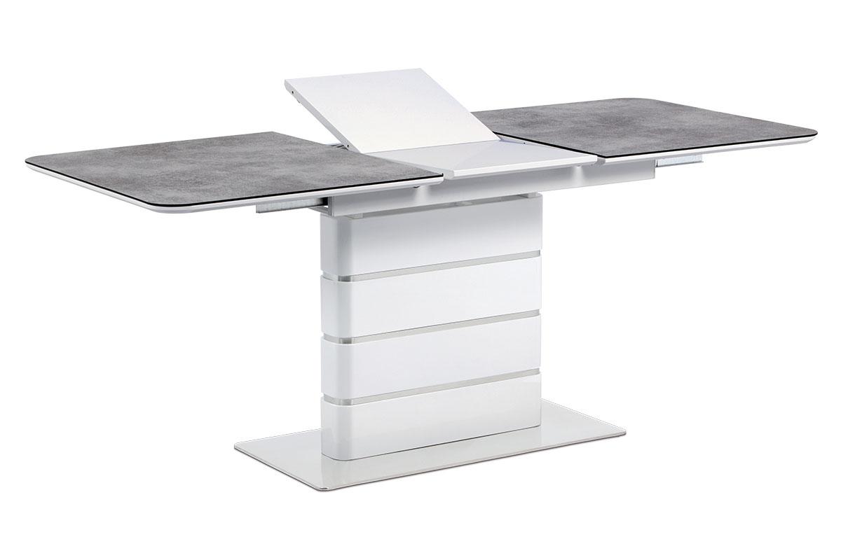 Autronic - Jídelní stůl 140+40x80, šedé sklo, bílý vysoký lesk MDF, broušený nerez - HT-455 GREY
