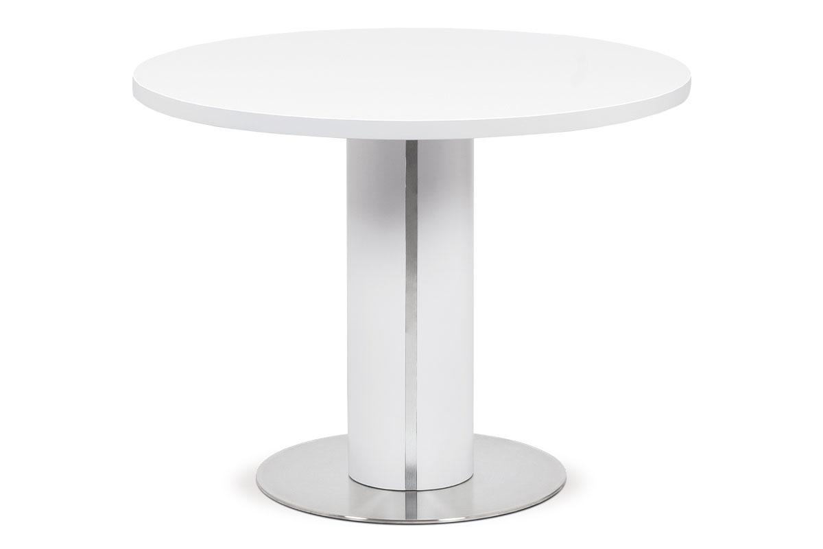Autronic - Jídelní stůl pr.100x77, bílá MDF mat, broušený nerez - HT-650 WT