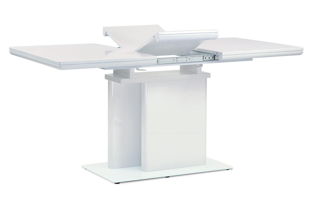Autronic - Jídelní stůl rozkládací 120+40x80 cm, vysoký lesk bílý - HT-655 WT