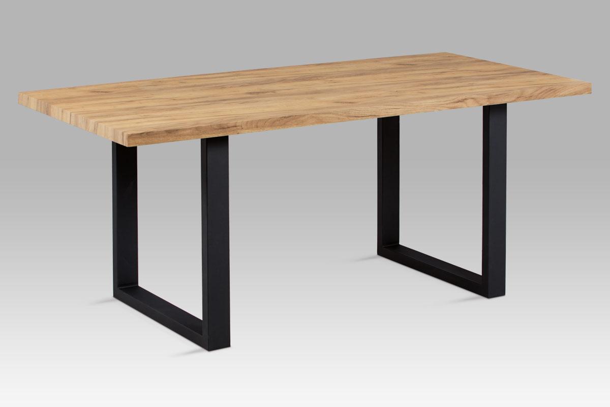 Autronic - Jídelní stůl 180x90 cm, 3D dekor dub / černý kov - HT-660 OAK
