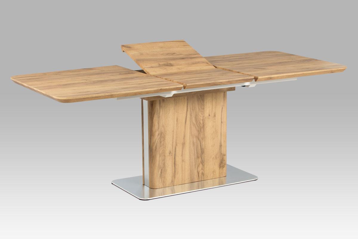 Autronic - Rozkládací jídelní stůl 160+50x90 cm, 3D dekor dub / broušený nerez - HT-670 OAK