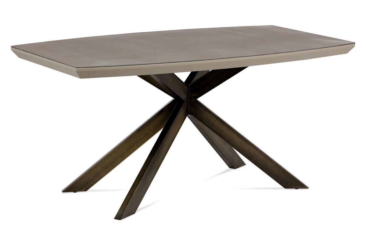 Autronic - Jídelní stůl 160x95 cm, mat lanýž / sklo dekor kámen / broušený kov antik - HT-690 LAN