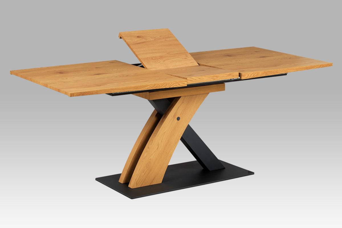 Autronic - Jídelní stůl 160+40x90, divoký dub MDF, kov matná černá - HT-701 OAK