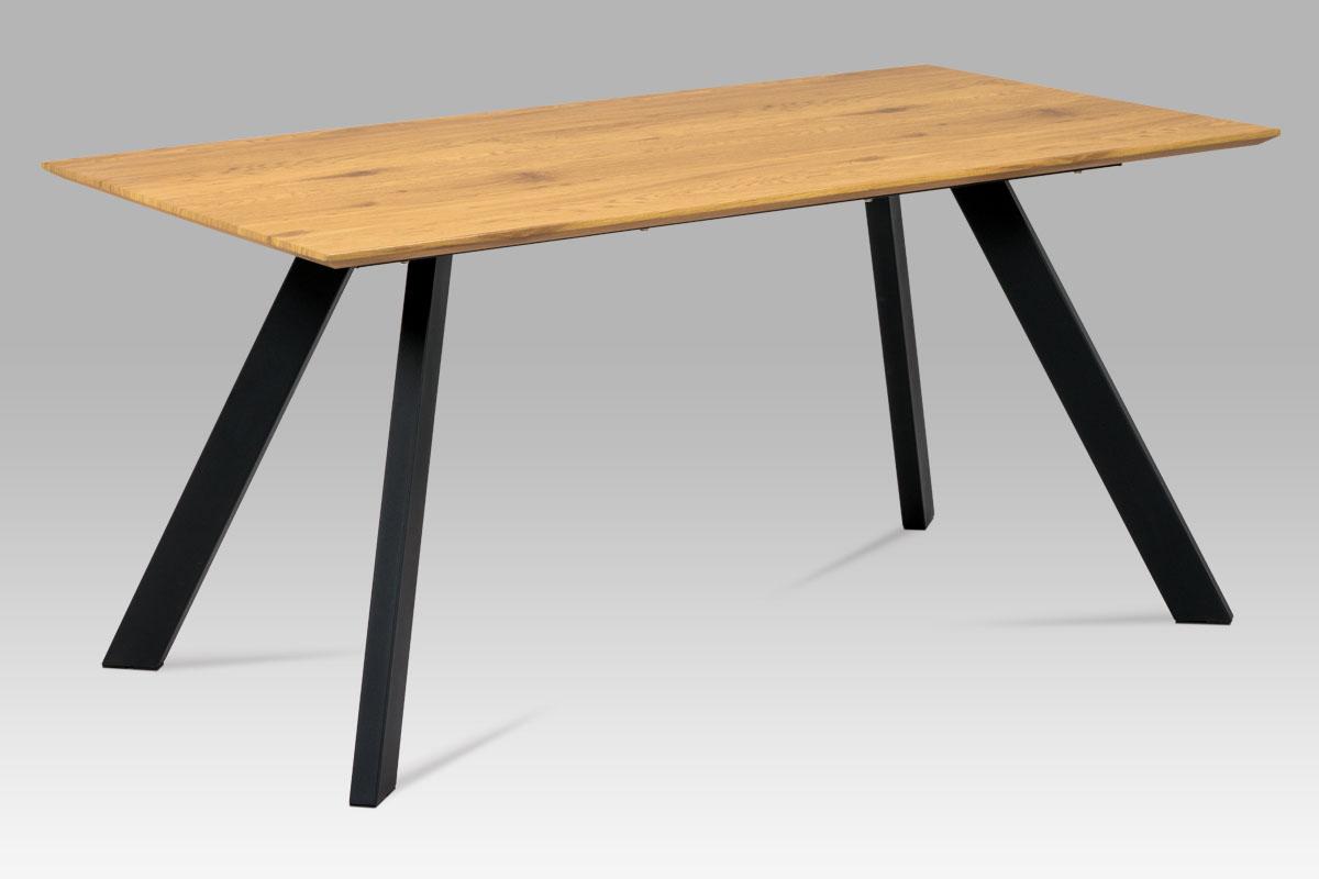 Autronic - Jídelní stůl 160x90 cm, MDF dekor dub, kov černý mat - HT-712 OAK
