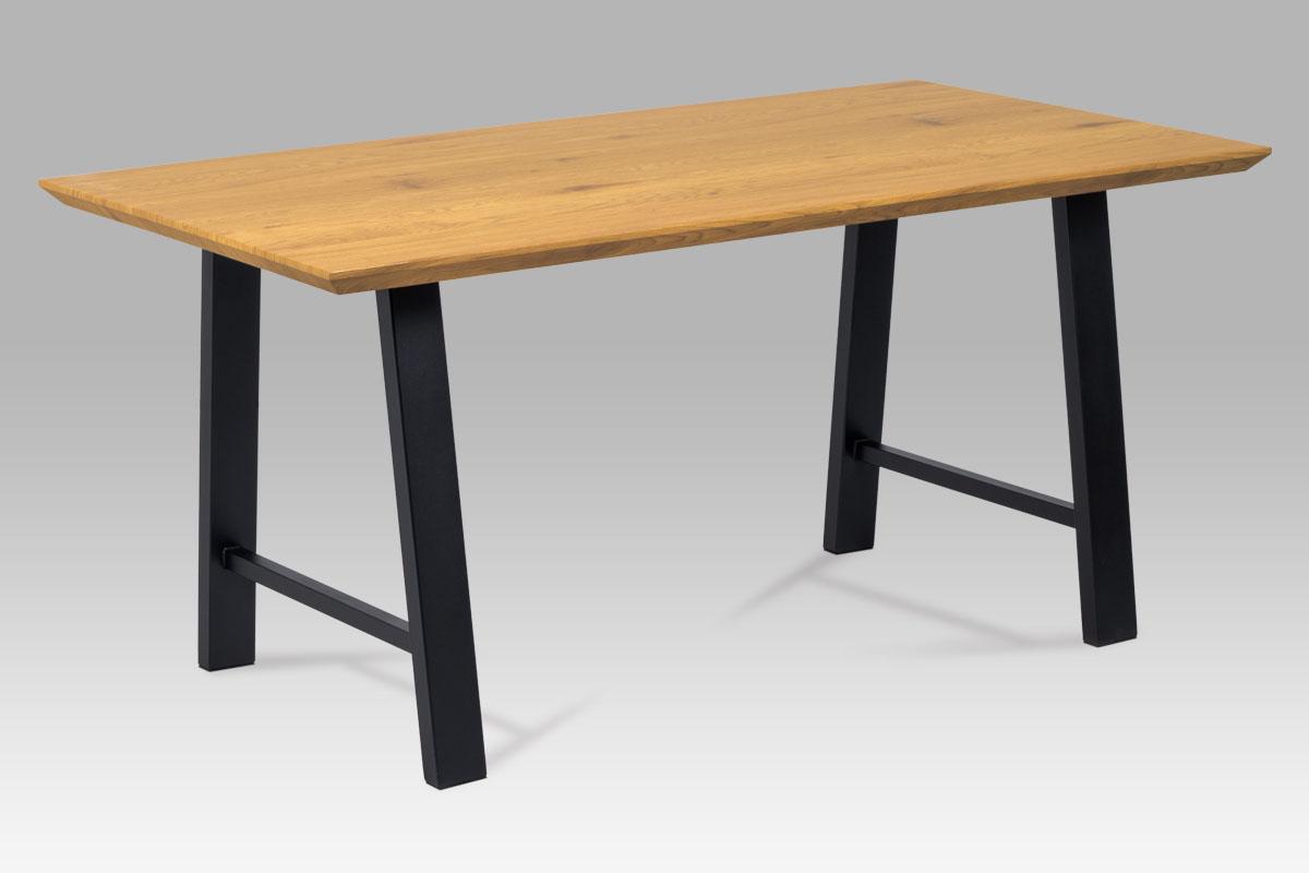 Autronic - Jídelní stůl 160x90 cm, MDF dekor dub, kov černý mat - HT-715 OAK