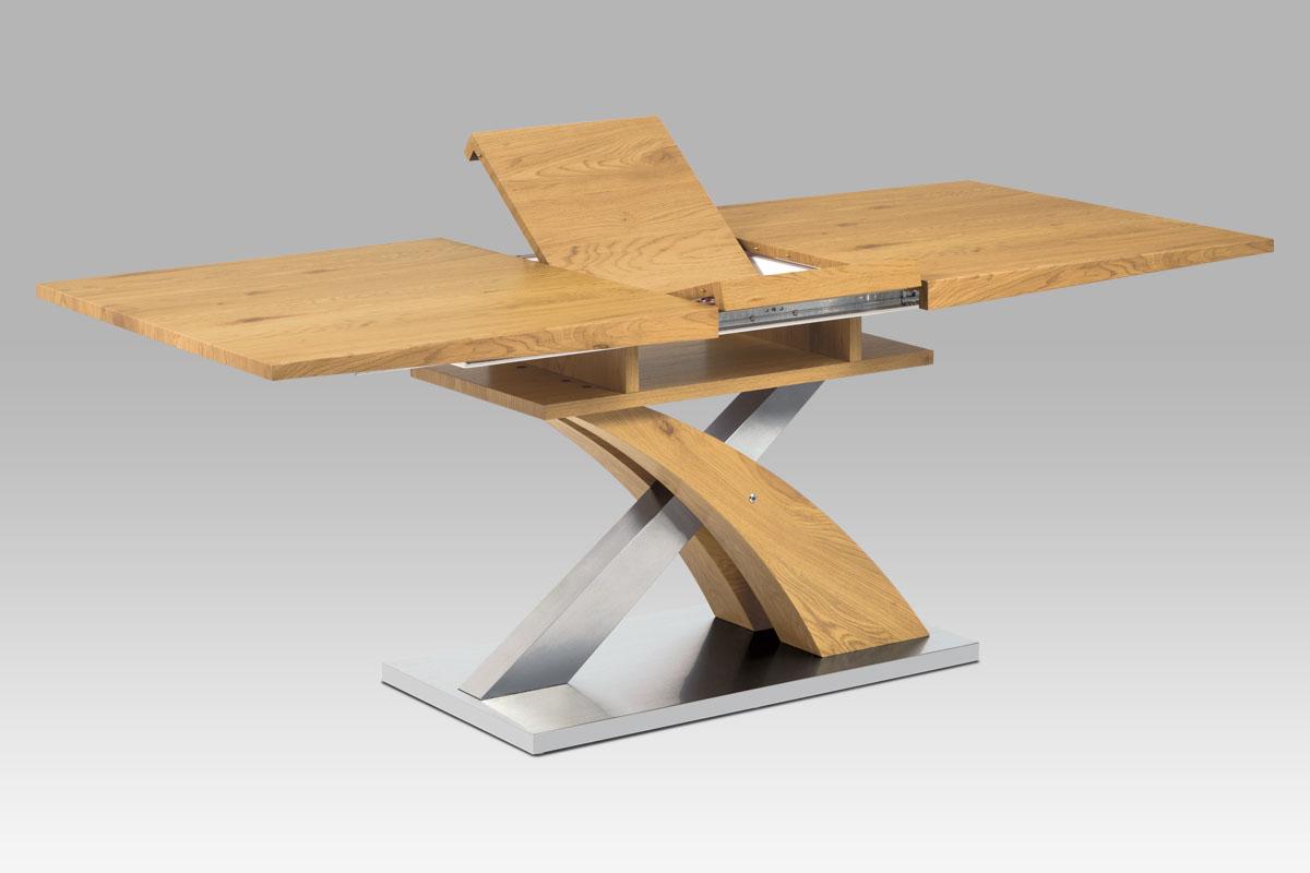 Autronic - Jídelní stůl rozkládací 160+40x90 cm, MDF dekor dub, broušený nerez + MDF dekor dub - HT-718 OAK