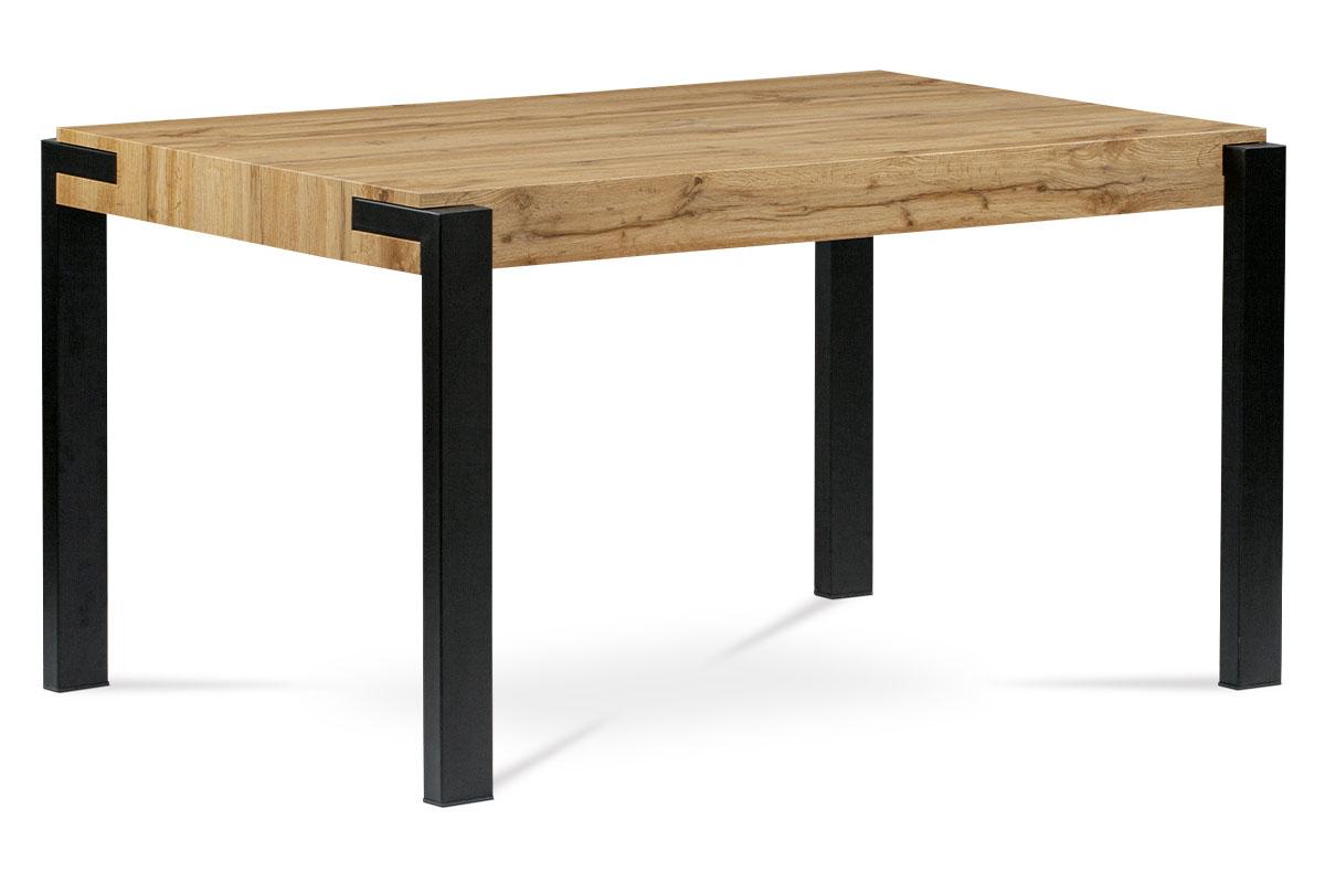 Autronic - Jídelní stůl 140x88x76, deska MDF dekor divoký dub tloušťka 100mm, kov černý mat - HT-725 OAK