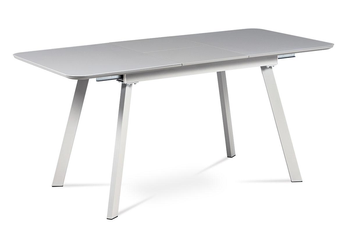 Jídelní stůl 120+40x80 cm, šedá matná MDF+šedé sklo, kov šedý mat - HT-801 GREY