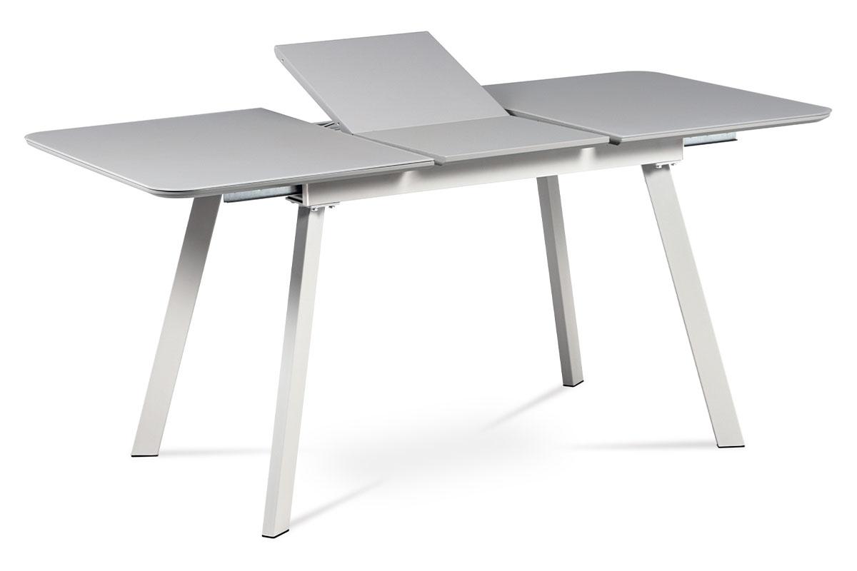 Autronic - Jídelní stůl 120+40x80 cm, šedá matná MDF+šedé sklo, kov šedý mat - HT-801 GREY