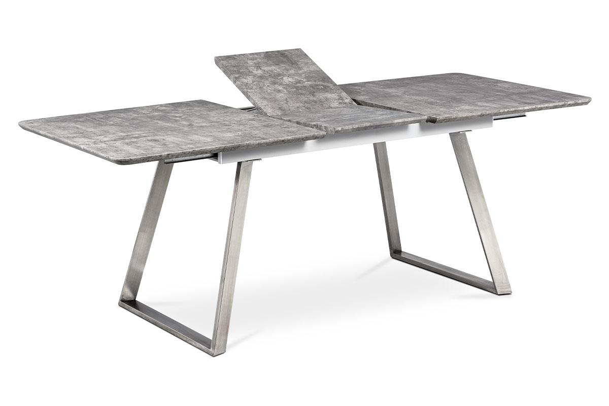 Autronic - Jídelní stůl 160x90cm s rozkladem 40cm, MDF v dekoru beton, broušený nerez - HT-804 BET