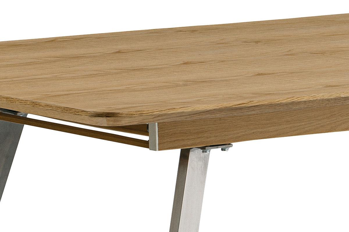 Jídelní stůl rozkládací - 160+40x90 cm, MDF + dýha dub, kovová podnož, broušený - HT-806 OAK