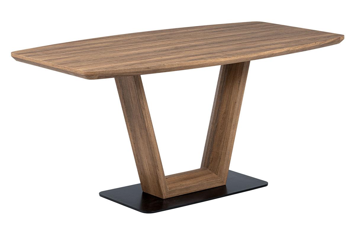 Autronic - Jídelní stůl 160x85 cm, MDF tmavý dub, kov matná černá - HT-810 OAK3
