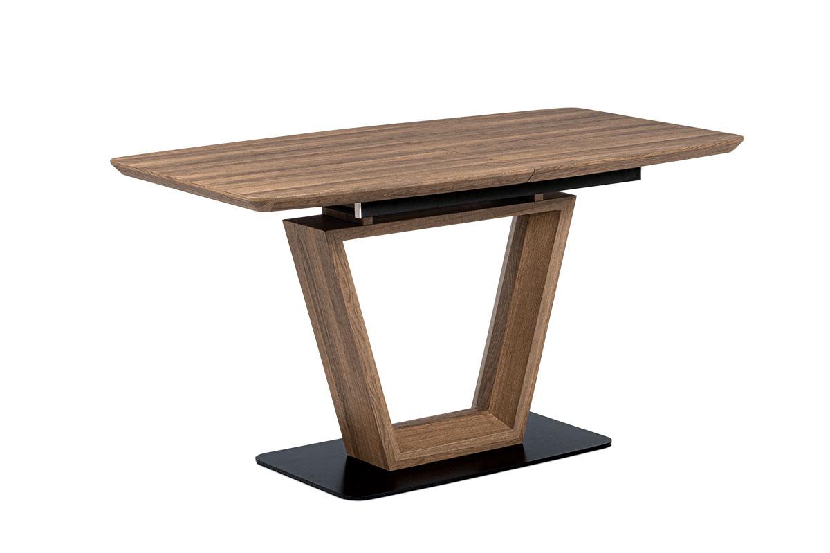Jídelní stůl 140+40x80 cm, MDF tmavý dub, kov matná černá - HT-814 OAK3