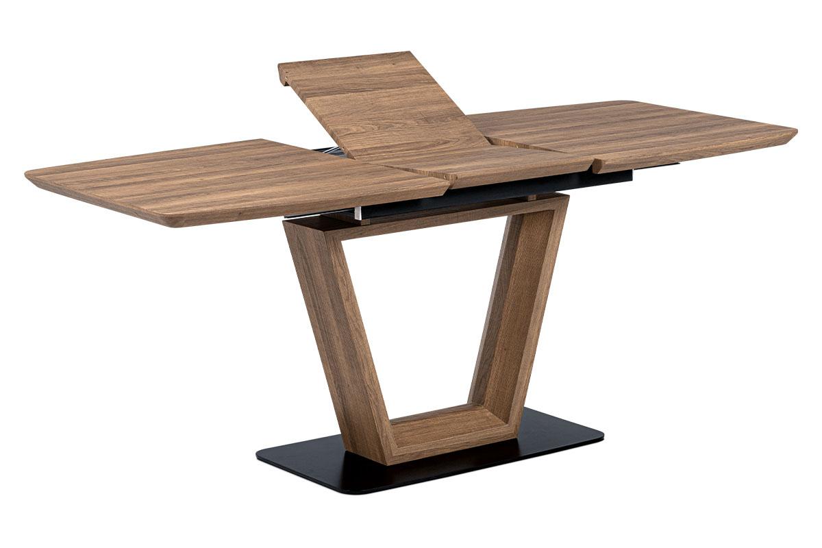 Autronic - Jídelní stůl 140+40x80 cm, MDF tmavý dub, kov matná černá - HT-814 OAK3