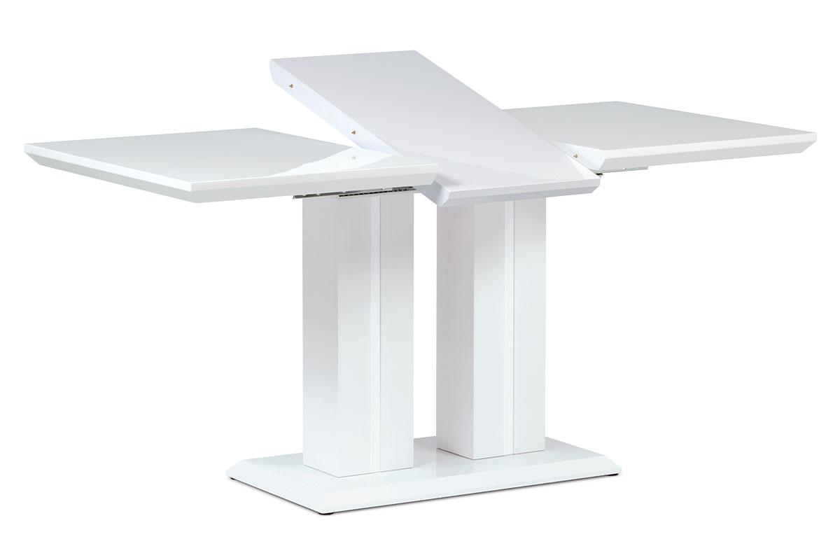 Autronic - Jídelní stůl 120+40x80x75 cm, vysoký lesk bílý - HT-869 WT
