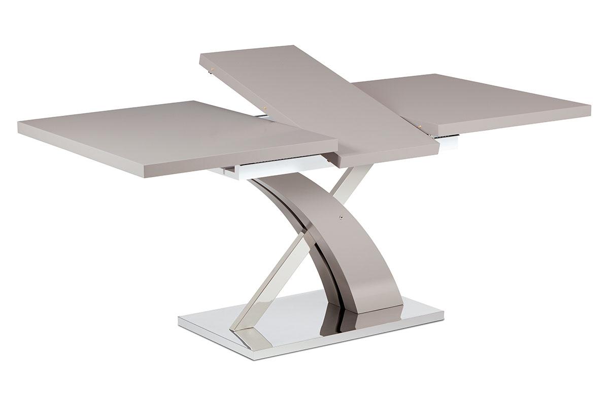 Autronic - Rozkládací jídelní stůl 140+40x90 cm, lanýžový mat / nerez - HT-999 LAN