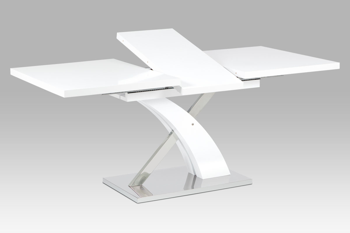 Autronic - Rozkládací jídelní stůl 140+40x90 cm, bílý mat / nerez - HT-999 WT