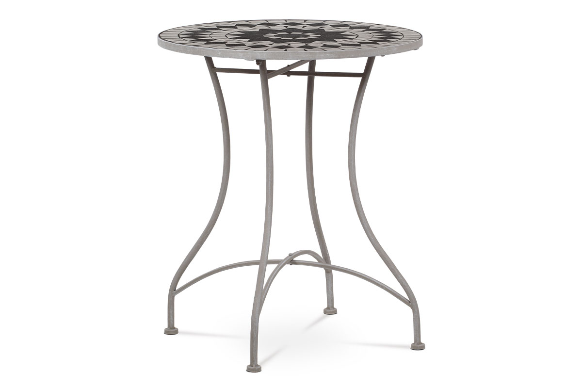 Zahradní stůl, deska z keramické mozaiky, kovová konstrukce, šedý lak Antik (typově k židli JF2229 a lavici JF2230)