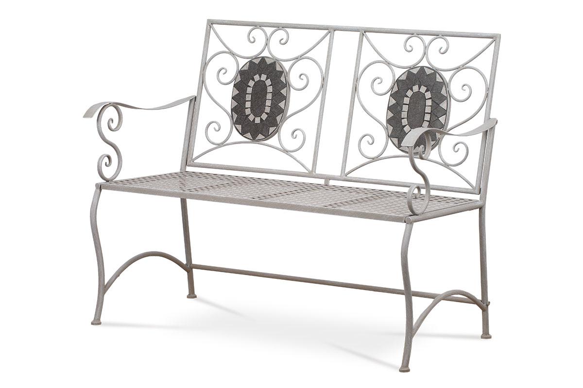 Autronic - Zahradní lavice, keramická mozaika, kovová konstrukce, černý matný lak (typově ke stolu JF2228 a židli JF2229) - JF2230