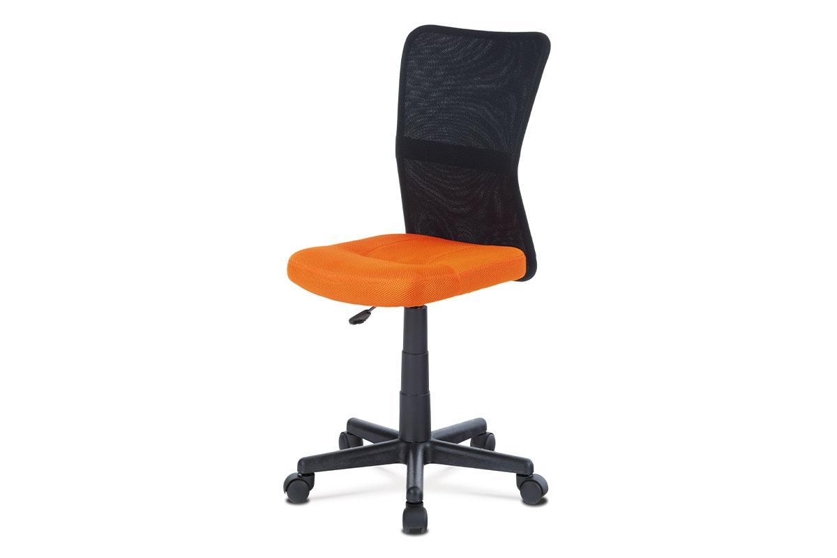 Autronic - Kancelářská židle, oranžová mesh, plastový kříž, síťovina černá - KA-2325 ORA