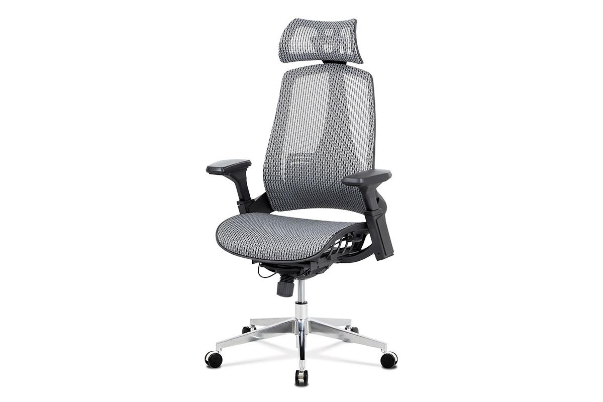 Kancelářská židle, šedá MESH síťovina, lankový mech., kovový kříž