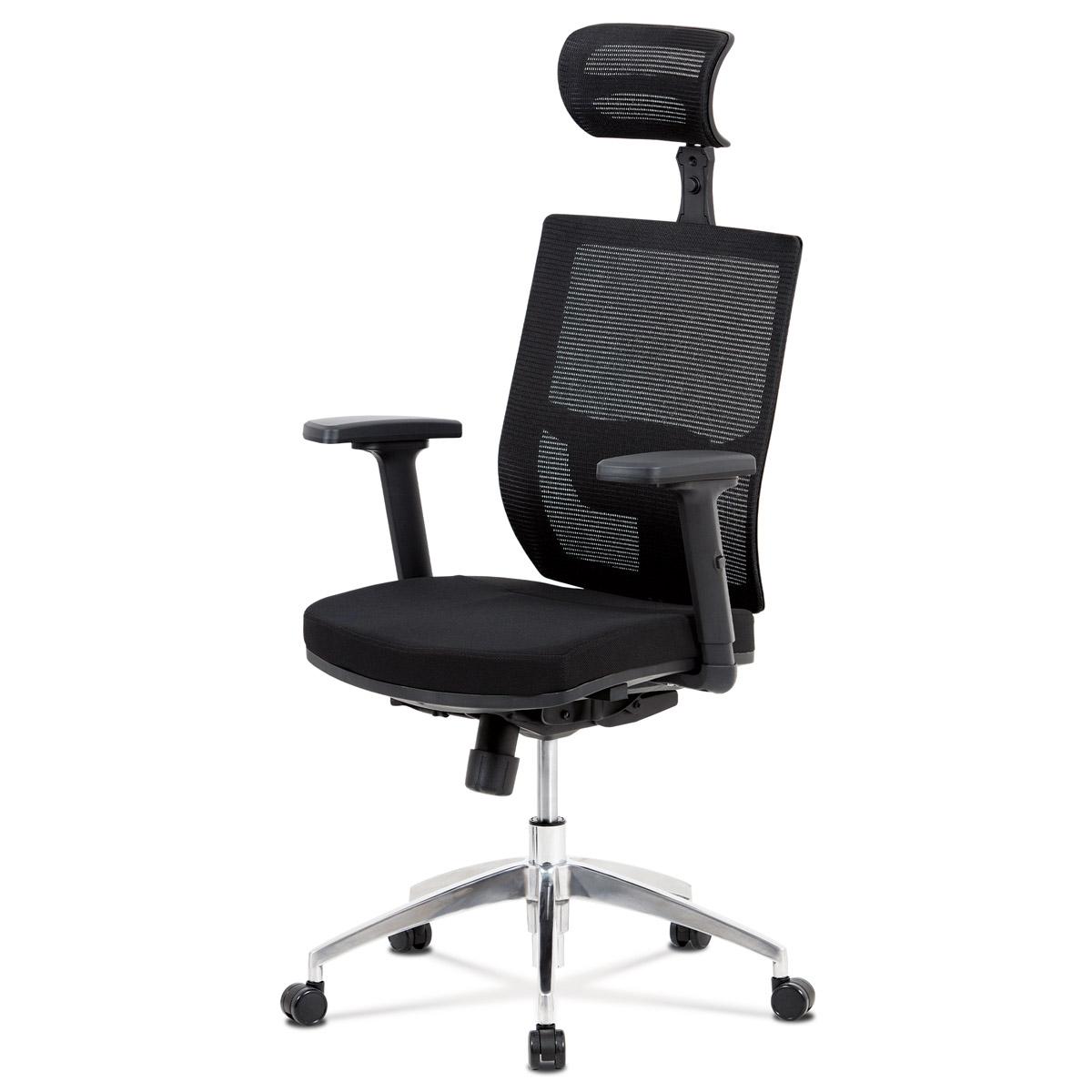 Kancelářská židle, černá látka / černá síťovina, hliníkový kříž, synchronní mechanismus