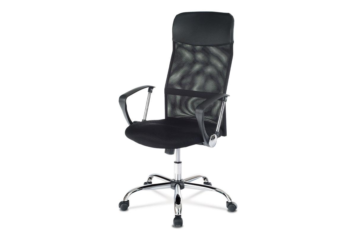 Autronic - Kancelářská židle s podhlavníkem z ekokůže, potah černá látka MESH a síťovina MESH, houpací mechanismus, kovový kříž - KA-E305 BK