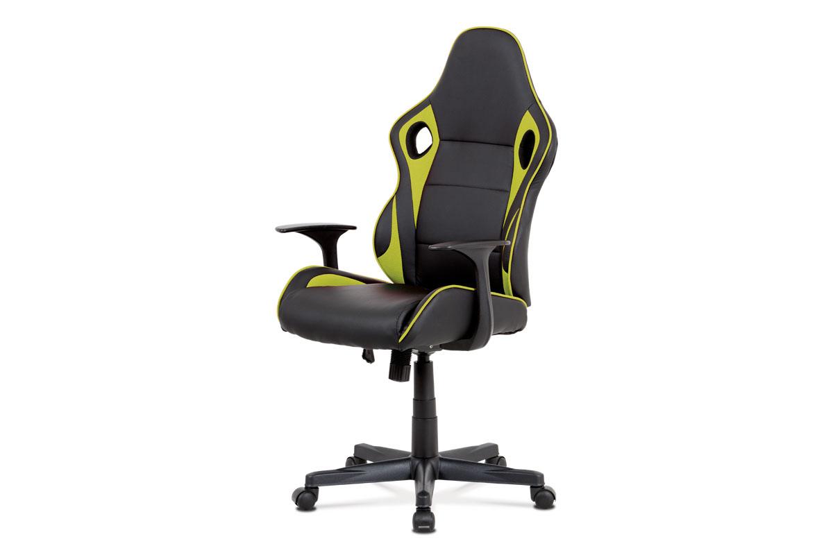 Kancelářská židle - černá ekokůže, zelená látka MESH, houpací mech., plastový kříž